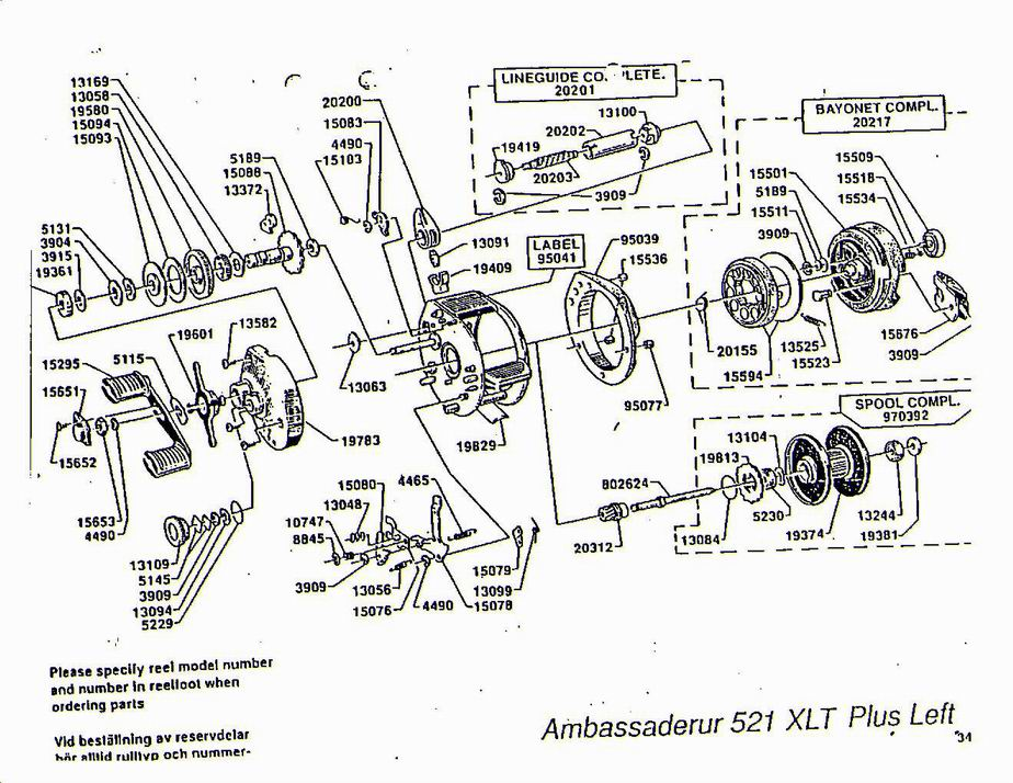 Shakespeare Fishing Reel Parts Diagrams Com