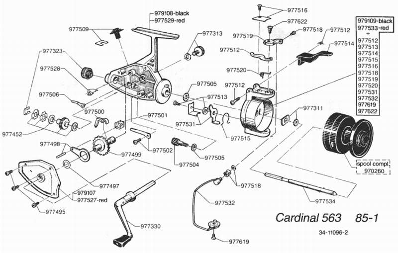 16968 Cardinal 355 Handle NEW ABU GARCIA SPINNING REEL PART